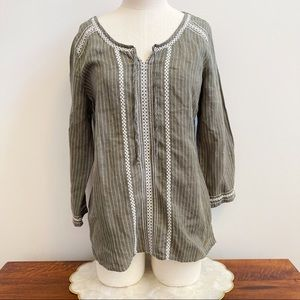 Green Embroidered White Long Sleeve Peasant Top S